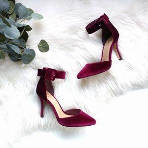 /Diba London/ wine velvet ankle strap heels